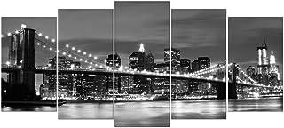 Wieco Art Large Brooklyn Bridge Night View Modern Giclee Canvas Prints Artwork Landscape..