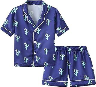 Pijama de manga larga para niños y niñas, conjuntos de pijama 2T 3T 4T 5T 6T niños ropa de dormir sedosa ropa de dormir 2 ...