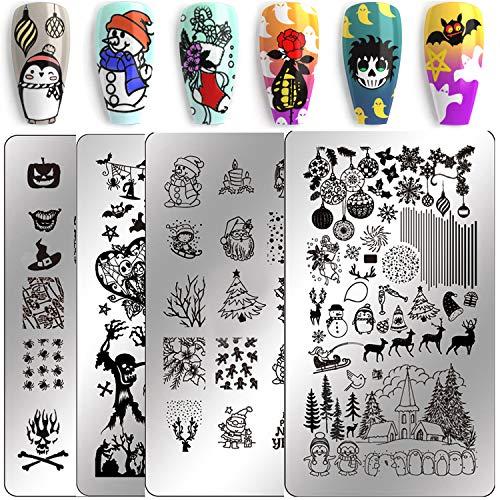 Nail Stamping Kit Christmas Nail Plates - Ejiubas Nail Stamping Plate Nail Art Stamping Kit Nail Polish Stamping Plate Set Halloween Nail Stamping Templates EJB X07 X08