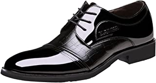 Wealsex Zapatos Hombre Clásico Cuero Brillante Derby Casual Ante Cordones Boda Verano Moda Casuales Calzado