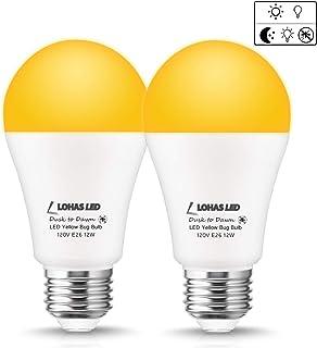 LOHAS Dusk-to-Dawn Light A19 LED Bulbs, 12watt Yellow 2000Kelvin Light 100W Equivalent E26 Light Sensor Light, 1000lm High Brightness LED Bulbs, Not-dim for Garden Porch Decoration Light 2Pack