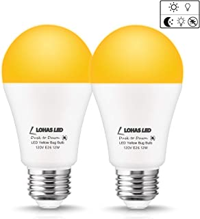 LOHAS Dusk-to-Dawn Light A19 LED Bulbs, 12watt Yellow 2000Kelvin Light 100W Equivalent E26 Light Sensor Light, 1000lm High Brightness LED Bulbs, Not-dim for Garden Porch Decoration Light 2Pack