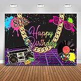 Avezano 2.2*1.5m Telón de fondo de cumpleaños de los años 80, fondo de fotografía de radio de música punk rock de pared de graffiti, cartel de decoración de fiesta de feliz cumpleaños de Hip Pop