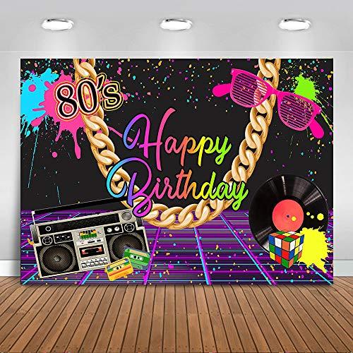 Avezano 2.2 * 1.5m Telón de Fondo de cumpleaños de los años 80, Fondo de fotografía de Radio de música Punk Rock de Pared de Graffiti, Cartel de decoración de Fiesta de Feliz cumpleaños de Hip Pop