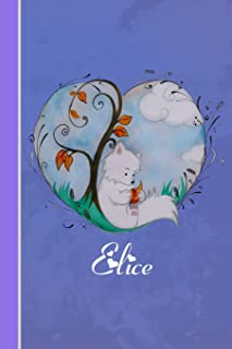 Elice: Cahier Personnalisé - Fox Avec Coeur - Couverture Souple - 120 Pages - Vide - Notebook - Journal Intime - Scrapbook...