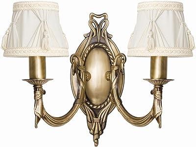 Premium Applique murale en laiton bronzé jeunesse style 2x E1440W 230V pour plastique tissé Chambre à coucher Couloir Salon Salle à manger lampe ampoules lampe murale intérieur