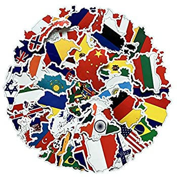 Vinyl National Flag Country Map Stickers Pack 50 Pcs Country Flag Decals for Laptop Car Suitcase Water Bottle Helmet Truck  Flag and Map