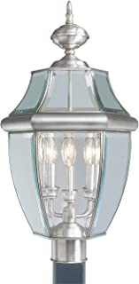 Livex Lighting 2354-91 Monterey 3 Light Outdoor Brushed Nickel Finish Solid Brass Post Head with Clear Beveled Glass