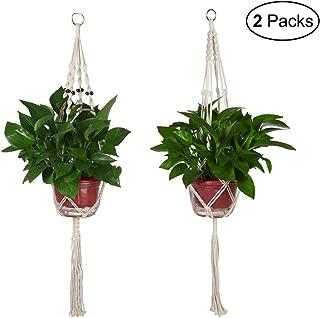 CGBOOM Plant Hanger, 2 Pack 41.7 inch Handmade Flower Plant Pot Holder, Macrame Hanging Planters for Indoor Outdoor Decoration