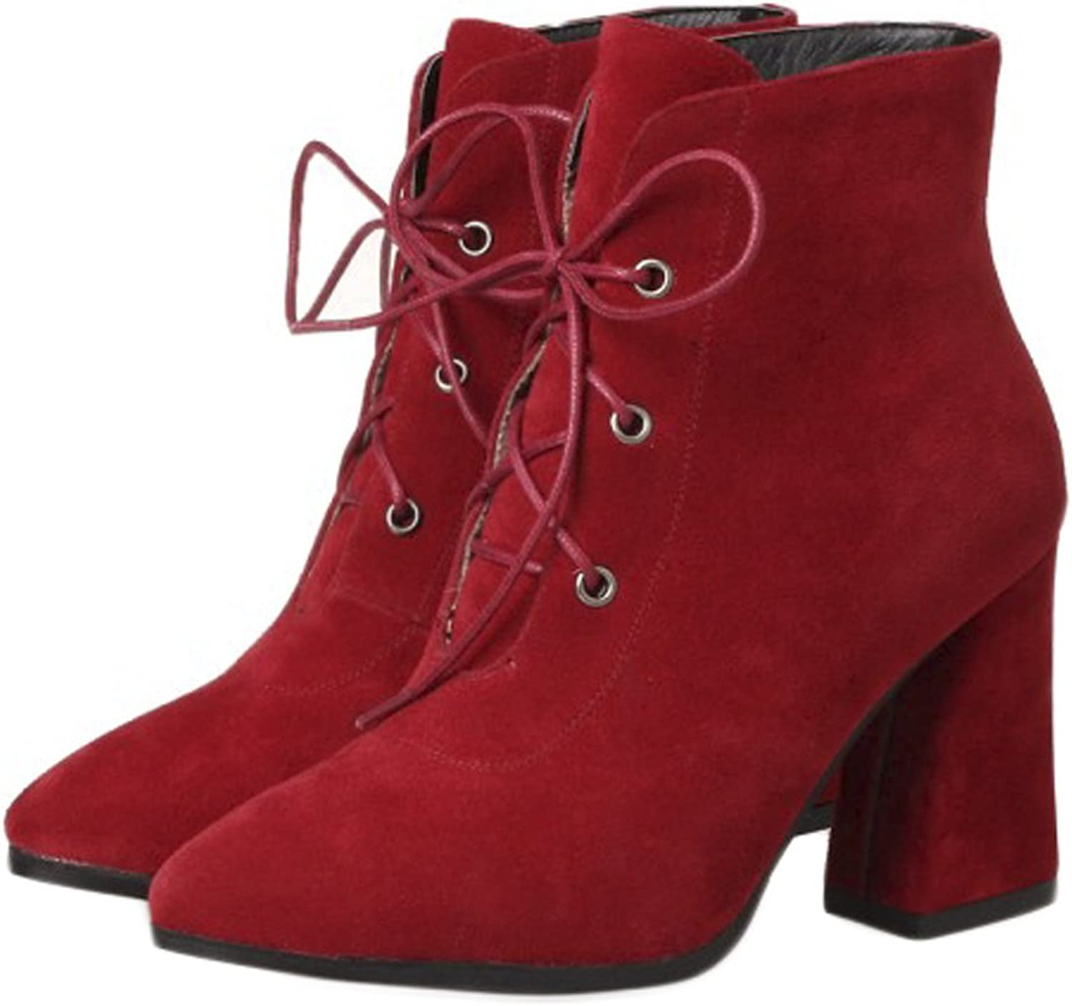 QZUnique Women Sexy Pointy Toe Lace Up Ankle Booties Chunky High Heel Suede Martin Boots