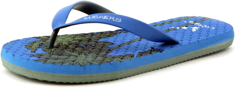 Luckers Men's Palm Flip Flops Sandals 10, fresh blue