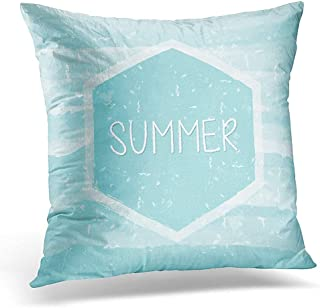 Throw Pillow Cover Advertise Summer in Hexagon Over Blue Waves Text Summery Grunge Drawn Holiday Seasonal Concept Label Decorative Pillow Case Home Decor Square 18