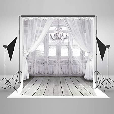 Photo Background 7x5 White Curtain Sunlight Windows with Gray Wood Floor Indoor Wedding Backdrops for Photo Booth Paper Tree Photographic Backgrounds