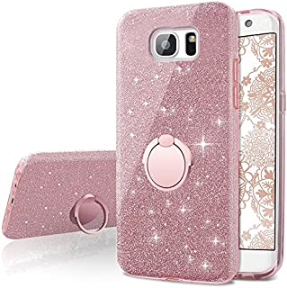 Galaxy S6 Edge Case,Silverback Girls Bling Glitter Sparkle Cute Phone Case with 360 Rotating Ring Stand, Soft TPU Outer Cover + Hard PC Inner Shell Skin for Samsung Galaxy S6 Edge -Rose Gold
