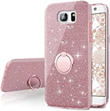 Galaxy S7 Edge Case,Silverback Girls Bling Glitter Sparkle Cute Phone Case with 360 Rotating Ring Stand, Soft TPU Outer Co...