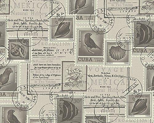 A.S. Création behang Dekora Natur, patroonbehang Travel the World, kleurrijk, crème, 958991 Natuur bruin, crème, zwart.