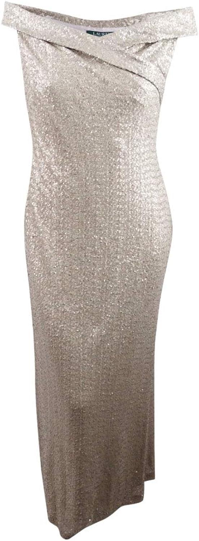 Lauren Ralph Lauren Womens Zofia Sequined OffTheShoulder Formal Dress
