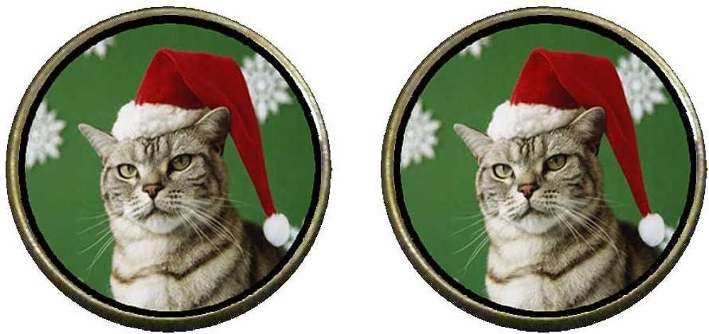 GiftJewelryShop Bronze Retro Style Christmas Cat Looking Good Photo Clip On Earrings 14mm Diameter