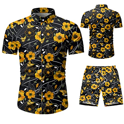 SSBZYES Herrenhemden Herren Kurzarmhemden Herren Kurzarmhemd Shorts Herren Fresh Kurzarm Camouflage Fünf-Punkte-Shorts Freizeitanzüge