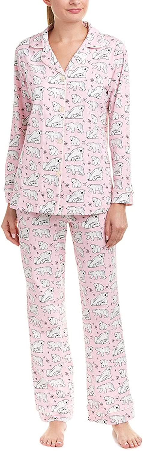 BedHead Womens Long Sleeve Classic Stretch Knit Pajama Set Pink