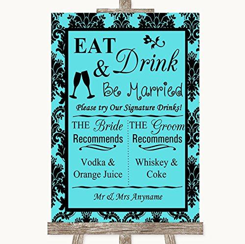 Tiffany blauwe Damasker handtekening favoriete drankjes gepersonaliseerde bruiloft teken Framed Oak Small Blauw