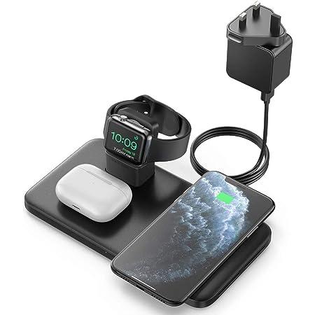 Seneo Caricabatterie Wireless, Stazione di Ricarica Wireless 3 in 1 per iWatch 5/4/3/2, 7.5W Rapida Ricarica per iPhone 12/11/11 PRO Max/SE 2/XS Max/XR/XS/X/8/8P(Include QC 3.0 Adattatore)
