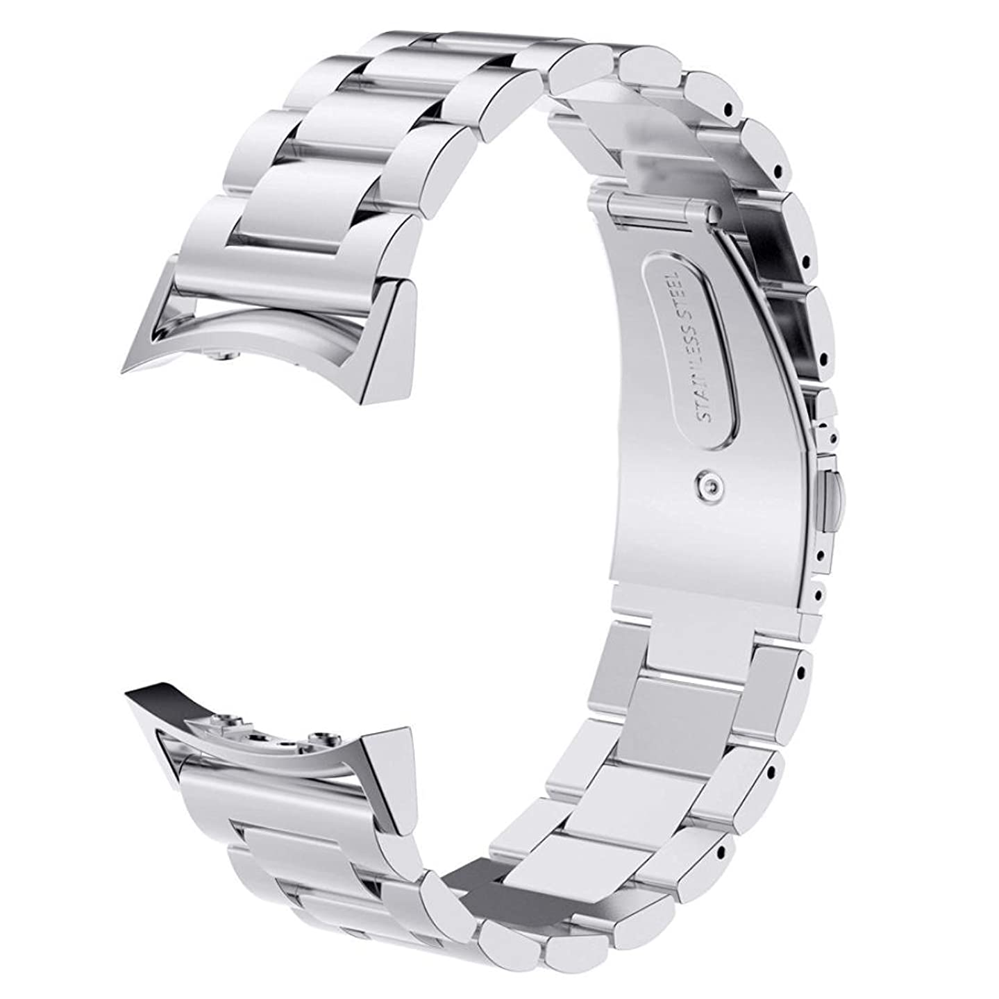 Gear S2 Bands V-Moro Solid Stainless Steel Metal Replacement Band with Adapters for Samsung Gear S2 Smart Watch (Metal Silver)