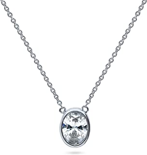 BERRICLE Rhodium Plated Sterling Silver Solitaire Anniversary Wedding Pendant Necklace Made with Swarovski Zirconia Oval Cut 1.21 CTW