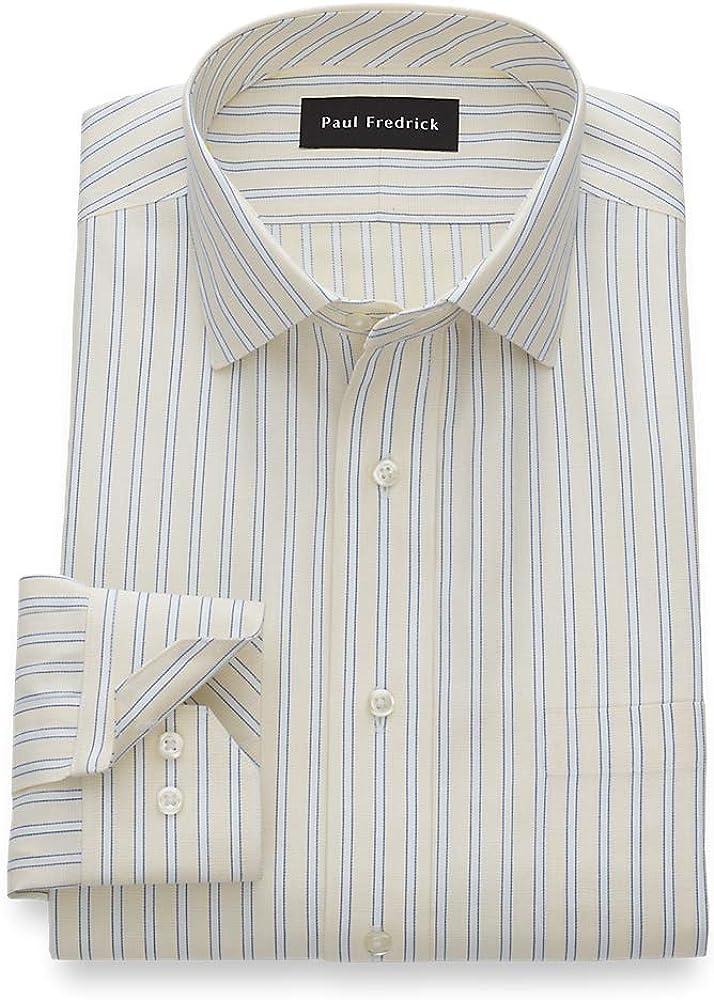 Paul Fredrick Men's Tailored Fit Non-Iron Stripe Semi-Spread Collar Dress Shirt
