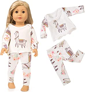 yijing Doll Clothes Accessories,Pretty Cute 18 Inch Doll Clothes Party Art Pajamas Matching Doll Outfit(Tops + Pants)