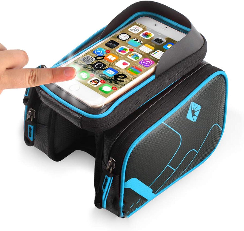 RUAMOZ Bicycle Saddle Bag,Bike Frame Handlebar Bag Sun Visor Cell Phone Holder Touch Screen Waterproof