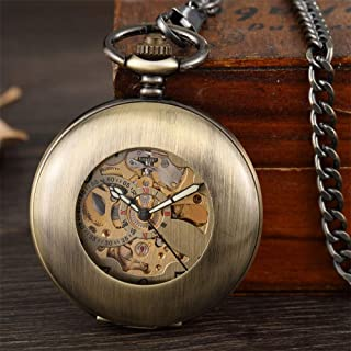 YXZQ Pocket Watch, Antique Smooth Mechanical Fob chain Arabic Numerals Vintage Hand Wind Watch Skeleton Pendent Men Women Gift Clock