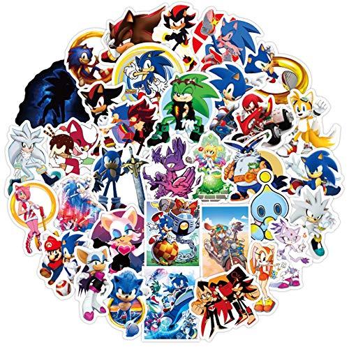 Sticker for The Hedgehog Sonic (50 Stück) niedliche, lustige Vinyl-Aufkleber für Laptops, Wasserflaschen, Computer, Handy, Skateboard