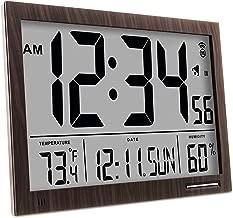 Marathon CL030062WD Slim Atomic Wall Clock with Jumbo Display, Calendar, Indoor Temperature & Humidity. Color- Walnut Wood Tone.