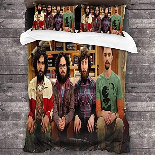 SL-YBB The Big Bang Theory - Juego de cama infantil (3 piezas, microfibra, para todas las estaciones, 2,135 x 200 cm + 50 x 75 cm x 2 cm)