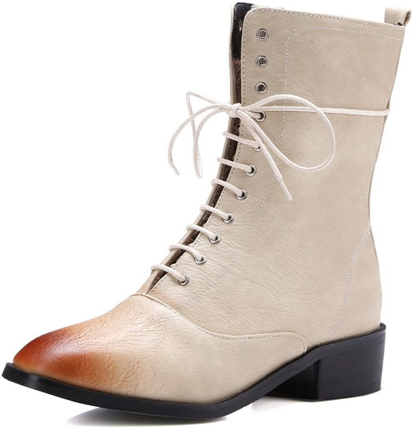 AandN Womens Boots Closed-Toe Lace-Up Adjustable-Strap Low-Heel Warm Lining Toggle Road Manmade Smooth Leather Fashion Urethane Boots DKU01951