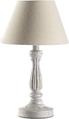 ONLI - Lampe à chevet style shabby en bois vieilli et abat-jour couleur sable