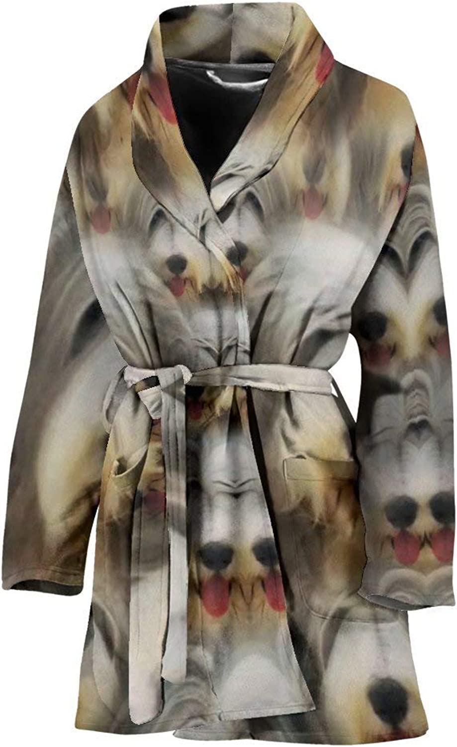 Bearded Collie in Lots Print Women's Bath Robe