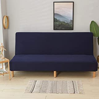 Chengstore Solid Color Armless Sofa Covers Waterproof All-inclusive 3 Seater Sofa Bed Covers Slipcover Protector