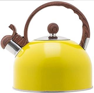 Gele roestvrijstalen fluitketel 2.5L grote capaciteit Spray Kleur fluitketel Fluitje ketel
