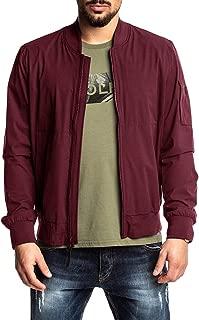Mens Bomber Varsity Jackets Ligthweight Pilot Stand Collar Baseball Ribbed Full-Zip Fall Winter Coat