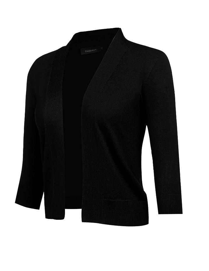 Freeprance Women's Cardigans 3/4 Sleeve Open Front Knit Cardigan Casual Sweater