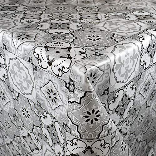 KEVKUS Tovaglia cerata 160 cm larghezza B3910-02 piastrelle mosaico nero bianco giardino a scelta in forma quadrata rotonda ovale (bordo con nastro in plastica), 100 x 160 cm rettangolare)