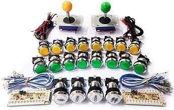 Tongmisi Zero Delay LED Arcade Button and Zippy Joystick MAME Cabinet Control Kit for Pandora Box Console Machine PC /Raspberry Pi (Yellow and Green kit 2)