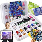 Caloyee Marbling Paint Kits,8 Colors 48PCS Non-Toxic Child Artistic Beginners Water-Based Painting on Water Paper Fabric Wood Stone Drawing Creative Art