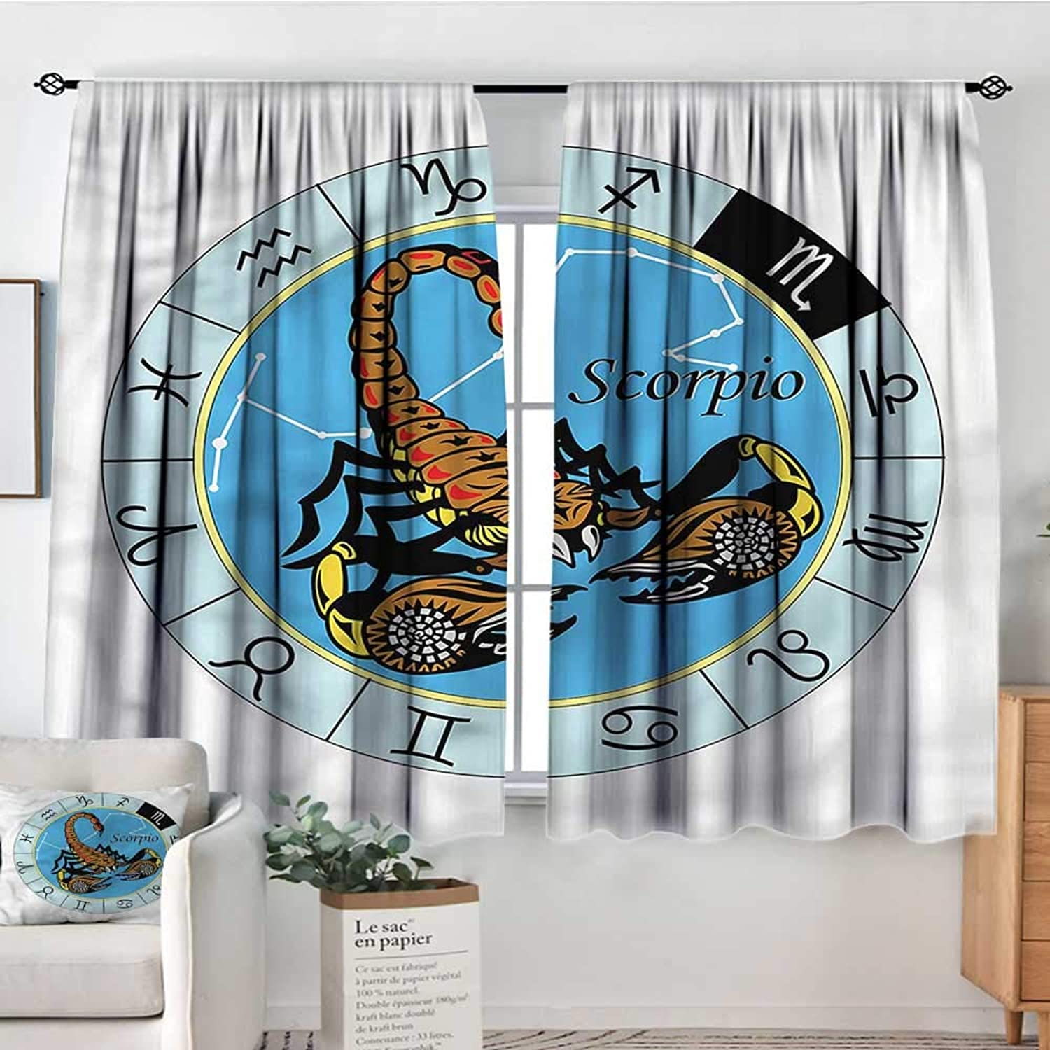 Familytaste Zodiac Scorpio,Rod Curtains Chart and Sign 42 X72  Backout Curtains for Kids Iving Room