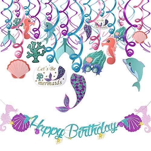 Meerjungfrau Geburtstagsparty Dekorationen Kindergeburtstag deko 31 Pack Set- Meerjungfrau Deckenhänger Spiral Girlanden Hängedekoration und Happy Birthday Banner für Mädchen Geburtstagdeko