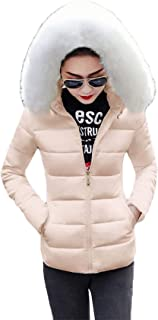 Dooxi Women's Short Slim Quilted Padded Coat Ladies Faux Fur Hooded Puffer Collar Jacket Outwear