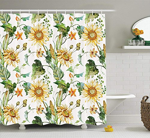 XZLWW Sonnenblumen & Mais-Muster, das Natur-Kunst-Abschluss herauf Entwurfs-Druck, Polyester-Gewebe-Badezimmer-Duschvorhang-Satz 200x200CM A kultiviert