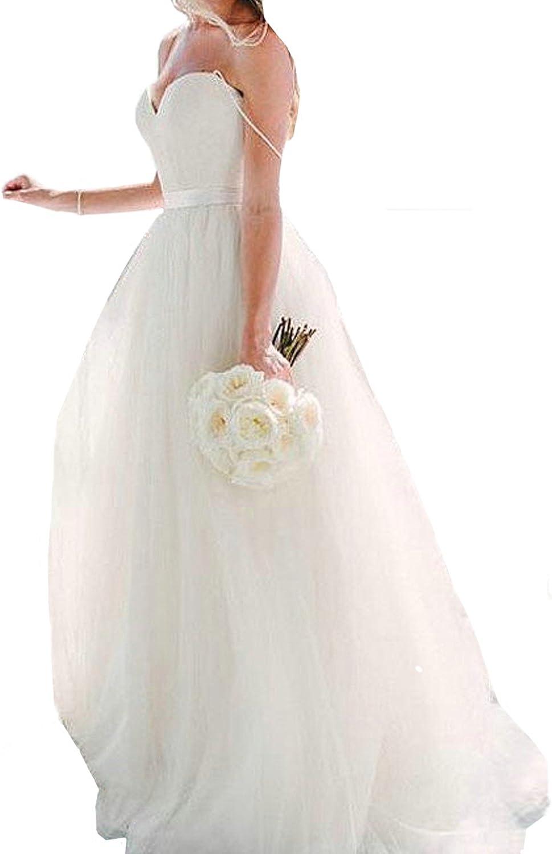 Honey Qiao White Spaghetti Straps Wedding Dresses Tulle Sash Boho Bridal Gowns